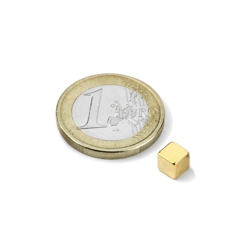 Kuutiomagneetti (kulta N50) 5x5x5mm